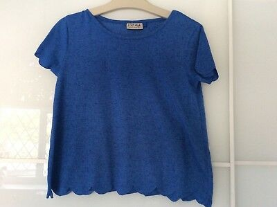 Next girs blue scalloped edged top worn once aged 9 years