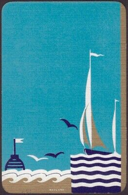 Playing Cards 1 Single Card Old Vintage Art Deco SAILING YACHT  SEAGULLS Hoyland
