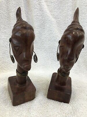 "Vintage African Woman Wood Carved Busts W Earrings 6.5"" Tall"