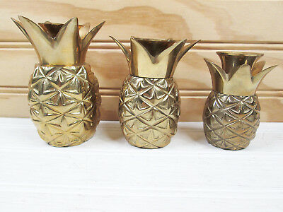 3 Vintage Brass Pineapple Candle Holders Set Gold Metal Lot Hollywood Regency