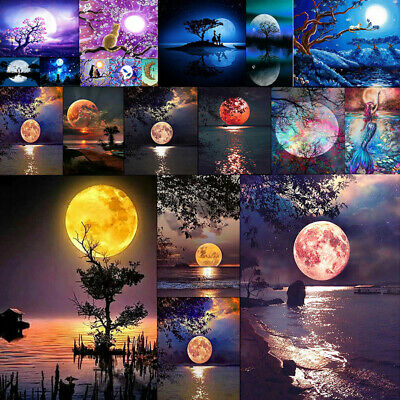 5D Full Drill Diamond Painting Moon Scenery  DIY Cross Stitch Wall Decor Gift