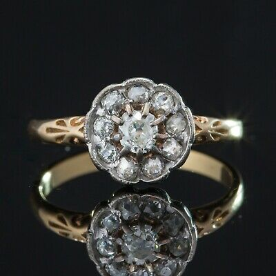 Antique Victorian Diamond Flower Cluster Halo Ring