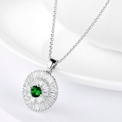 Dazzling Women Round Green Emerald White Crystal Silver Pendant Necklace Chain