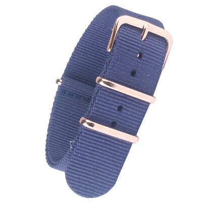 New Army Navy Blue Nylon Watchband Watch Strap Band Rose gold Buckle coated