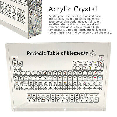 Periodic Table Display with Elements Acrylic Student Teacher Gift Desk 17X12cm