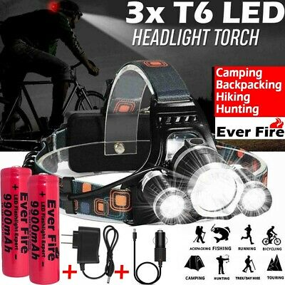 Rechargeable 90000LM 3X T6 LED Headlamp Headlight Flashlight Head Torch 18650