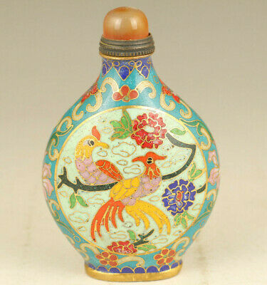 Big Chinese old cloisonne Handpainted luck bird statue snuff bottle decoration