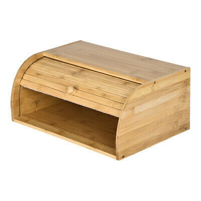 Wood Bread Box Bamboo Roll Top lid Loaf Container Kitchen Food Storage Large