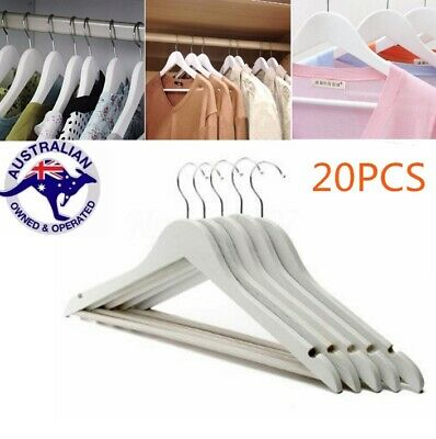 20X Wooden Hangers Clothes Coats Suit Pants Rack Wood Wardrobe Coathanger White