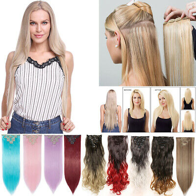 Clip In 8 Pieces Hair Real as Human Hair Extensions Full Head Long Straight Wavy