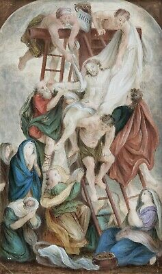 EARLY 19th CENTURY FRENCH WATERCOLOUR ON PAPER - DESCENT FROM THE CROSS