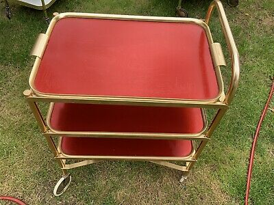 Vintage Retro Hostess Tea Trolley Drinks Cocktails Folding 3 Removable Trays