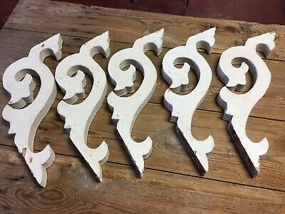 5 Antique Matching Victorian Decorative Designed Wood Porch Corbels Old Paint