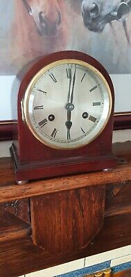 German Striking 8 Day mahogany Mantel Clock  Working Order with key