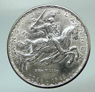 1946 LUXEMBOURG Dutchess Charlotte John the Blind Genuine Silver 20F Coin i80452