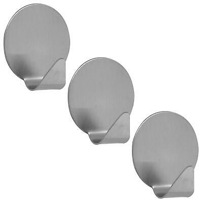 3PK Removable Self Adhesive Hooks Round Steel Stainless Sticky Wall Door Hangers