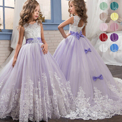 Flower Girls Princess Dress Kids Party Wedding Bridesmaid Formal Long Dresses