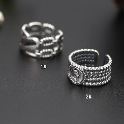 S925 pure silver jewelry opening lady ring Korean retro letter ring