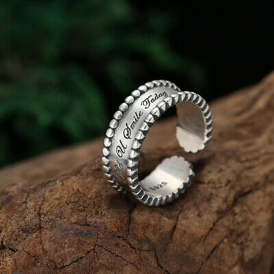 S925 pure silver ring ladies jewelry simple personality small fresh letter ring