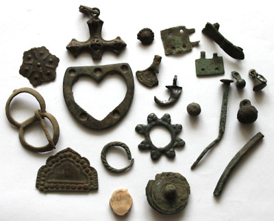 Set of different Antique items from Greek period to the present day