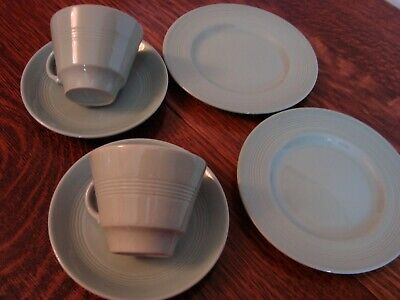 2 Vintage Woods Wood's green Beryl ware trios cups saucers tea plates