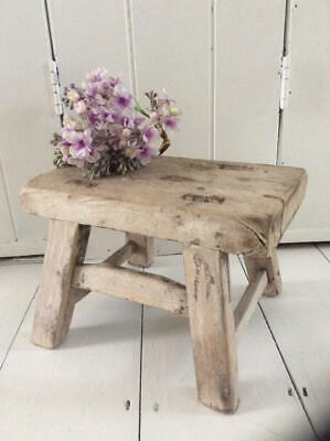 ~Antique French 18thc Primitive/Rustic Wooden Stool~