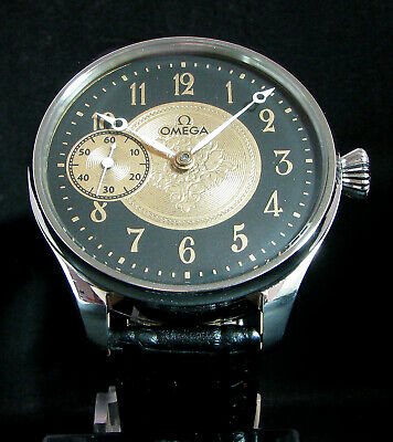 OMEGA ANTIQUE 1932 Deco Large Steel Wristwatch EXHIBITION BACK