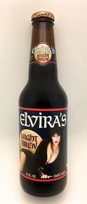Vtg 1996 Elvira Mistress of the Dark - Night Brew Beer Bottle & Cap - Empty