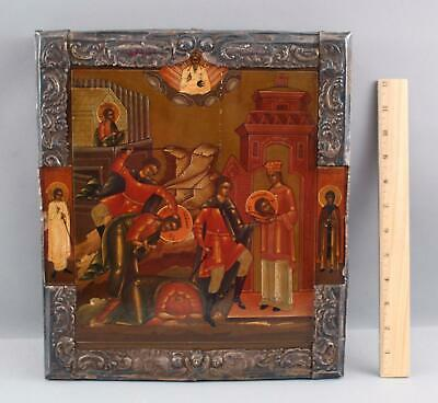 19thC Antique Russian 84 Silver Icon Painting, Beheading of John the Baptist