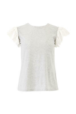 Rebecca Taylor Gray Women Size XS Embroidered Flutter Sleeve Knit Top $225- #830