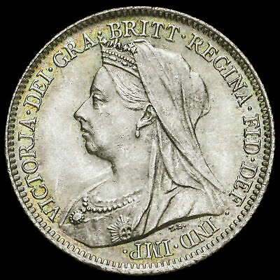 1901 Queen Victoria Veiled Head Silver Sixpence, UNC #2