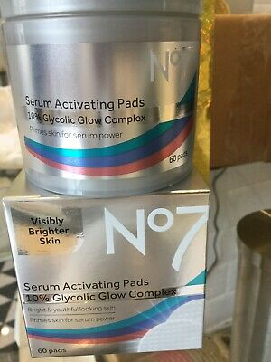 NEW Sealed No7 Serum Activating Pads 10% Glycolic Glow Complex 60 Pads RRP£23