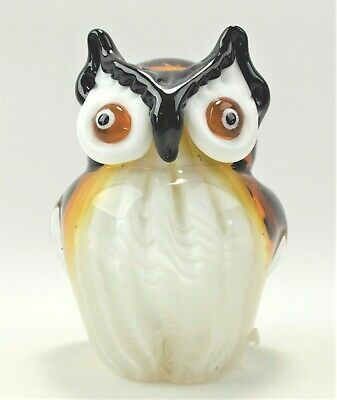 "Hand Blown Owl Figure 5.5"" Tall White Brown and Black"