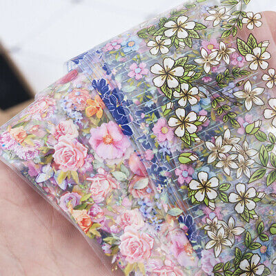 10 Pcs Holographic Nail Foil Set Nails Flowers Art Film Floral Transfer Sticker