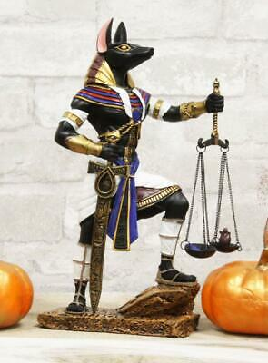 Colorful Egyptian God Anubis With Scales Of Justice And Judgement Sword Statue
