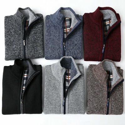 Mens Autumn Winter Knitted Cardigan Classic Zip Up Thick Velvet Jumper Cardigan