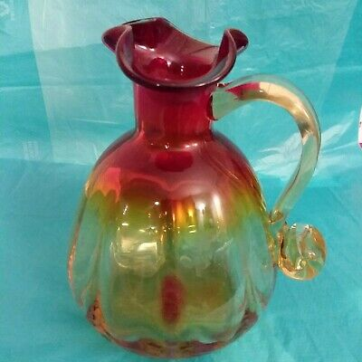 Blenko Tangerine Amberina Art Glass Pitcher Ruffled Top Pinched Sprout Vintage