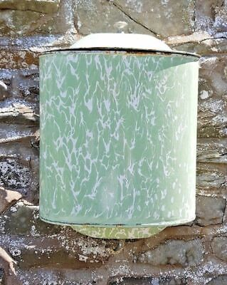 Vintage French Enamel Wall Tank Hand Wash Lavabo Irrigator Water Fountain Green