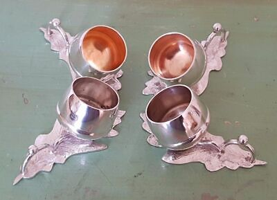 4 Rare Antique Silver Plated Salt & Pepper Pots Cellar Cruets - Acorn & Leaf