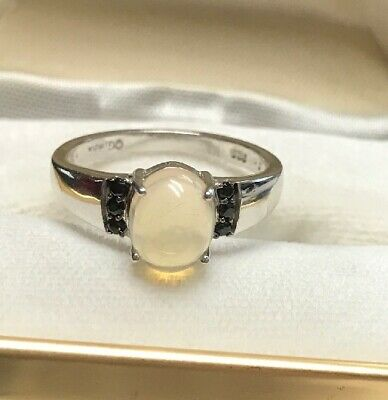 Original 925 Solid Sterling Silver Ring With Natural Ethiopian Opal Gemstone
