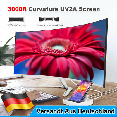 """24"""" 32"""" zoll Curved LED Monitor PC Gaming Monitor Full HD HDMI 1920x1080p EEK A"""