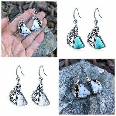 Women Ancient Silver Turquoise Gemstone Earrings Hoop Triangle Boho Jewelry