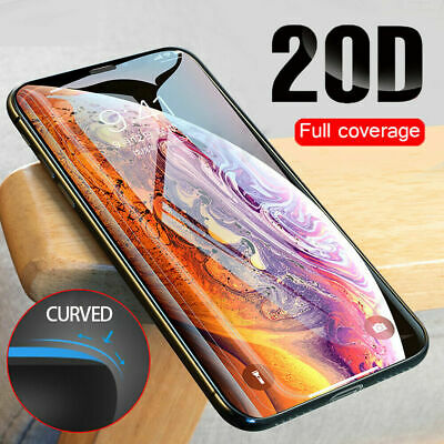2020 20D 9H Tempered Glass Fr iPhone X XS Max Screen Protector Full Curved Guard