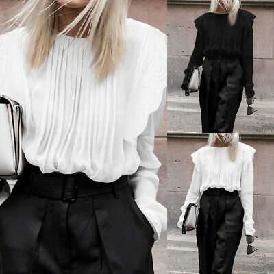 Plus Size Women Casual Victorian Shirt Lace Pleated Loose Blouse Puff Sleeve Top