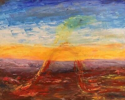 Sophie Danielle Rubinstain (1922-2018) Huge French Surrealist Abstract Landscape