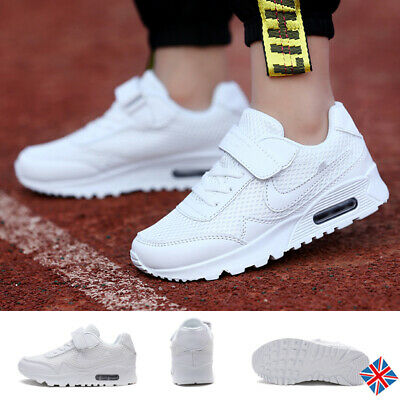 Boys Girls Air Sports Trainers Kids Mesh Shockproof Gym Running Comfort Shoes UK