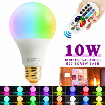 Dimmable 10W E27 RGB LED Light Color Bulb Multi Color Home Decor Lamp+IR Remote