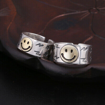 S925 pure silver jewelry smiley face ring personality couple opening ring