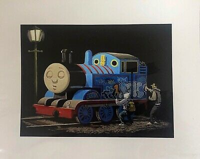 "Thomas The Tank Engine Banksy Mounted Reproduced Art Print 10 x 8"" - New"