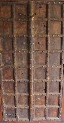 Pair Hand Carved Metal Studded Antique Gothic Vintage Industrial Indian Doors